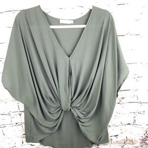 LUSH OLIVE SHORT SLEEVE RUCHED BLOUSE SIZE M